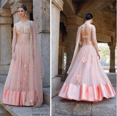 Light pink lehenga by Astha Narang , Spring summer lehenga , full sleeved blouse , blush peach lehenga , shimmery sheer blouse , lavender lehenga with satin edging