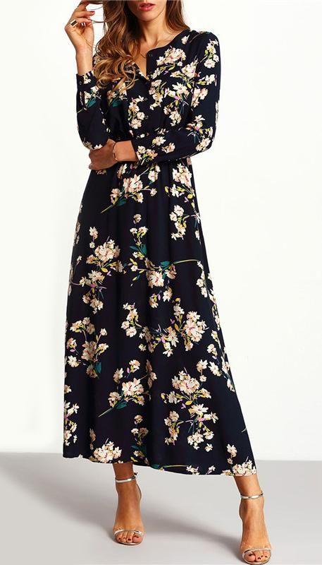 f43245167ca Floral Long Dress Sleeve Length(cm)  Full Silhouette  Straight Neckline   V-Neck Dresses Length  Ankle-Length Waistline  Empire Decoration  Button  Material  ...