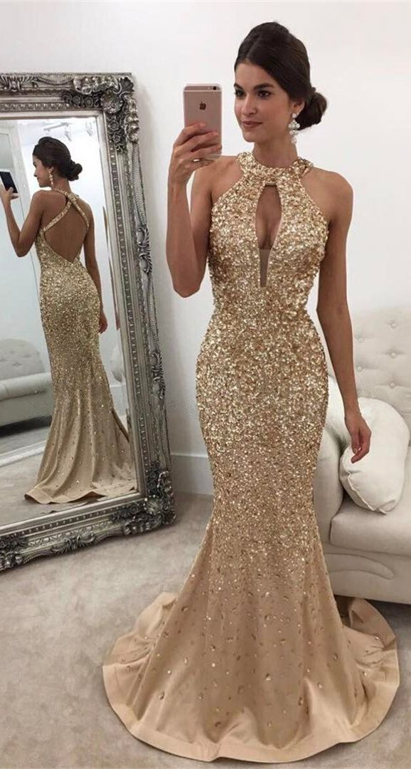 elegant gold sequined prom dress with hold, fashion mermaid party dress with sweep trian