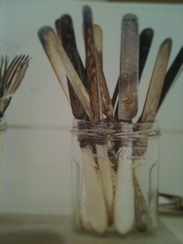 tarnished silver in a mason jar