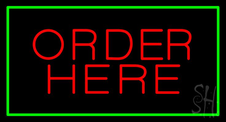 Order Here Rectangle Green Neon Sign 20 Tall x 37 Wide x 3 Deep, is 100% Handcrafted with Real Glass Tube Neon Sign. !!! Made in USA !!!  Colors on the sign are Red and Green. Order Here Rectangle Green Neon Sign is high impact, eye catching, real glass tube neon sign. This characteristic glow can attract customers like nothing else, virtually burning your identity into the minds of potential and future customers.
