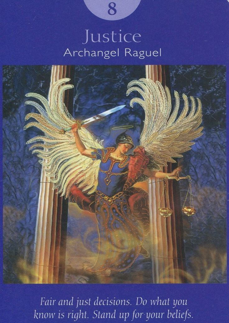 VIII. Justice - Archangel Raguel - Angel Tarot Cards by Doreen Virtue and Radleigh Valentine. Artwork by Steve A. Roberts