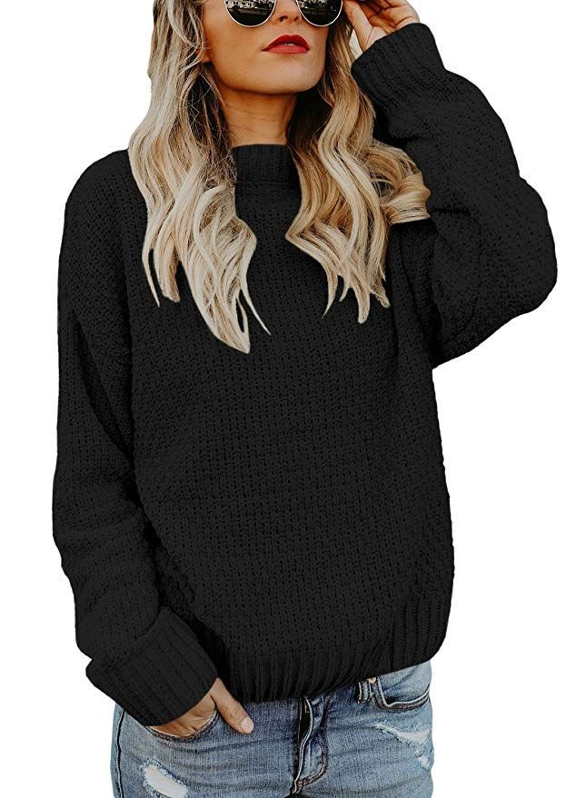 Anloli Women Loose Cable Knit Crewneck Casual Sweater Pullover Chunky Knitted  Tops. AVAILABLE IN BLACK c5c4de793