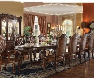 Acme Furniture Vendome Cherry 11 Piece Double Pedestal Dining Table Set With Upholstered Chairs