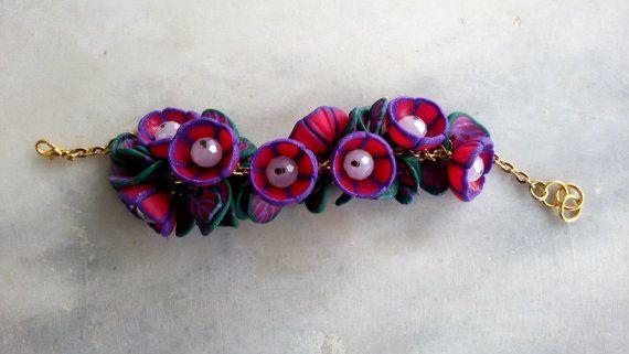 purple flower jewelrypink braceletpolymer clay by jewelryfoodclay