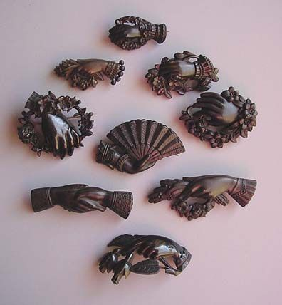 Victorian vulcanite hand pins: these are an element in American traditional tattoo designs