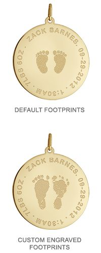 7/8 inch, 14k Gold Baby Footprint Disc Charm Necklace Footprint Engraving Options