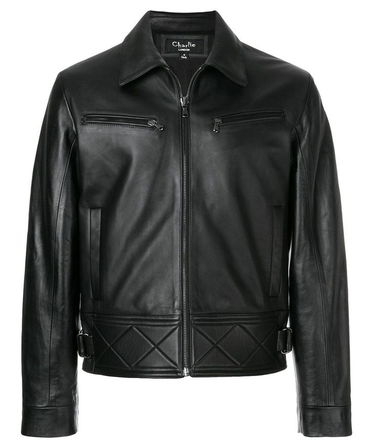 Mens Black Bondage Biker Style Leather Jacket. Cut from high quality  leather, this Bondage biker jacket from Charlie London features a pointed  collar, ...