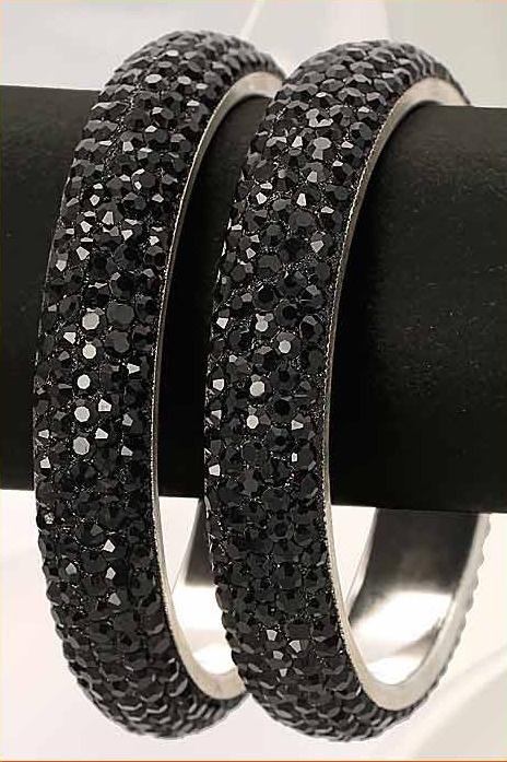 #Black Stone Studded #Bangles Set @ $19.03 | Shop @ http://www.utsavfashion.com/store/item.aspx?icode=jds13