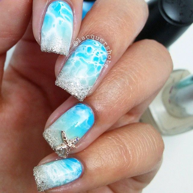 Nail Art With Sky Blues Design