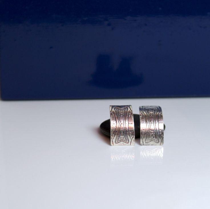 Etched Sterling silver street art inspired post earrings - Handmade by MojoSteph on Etsy