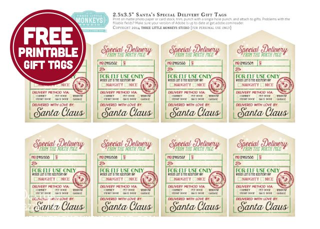 santas special delivery printable gift tags by threelittlemonkeysstudiocom homemade gifts favors pinterest gift tags christmas and gift tags
