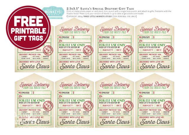 Santa's Special Delivery Printable Gift Tags by ThreeLittleMonkeysStudio.com
