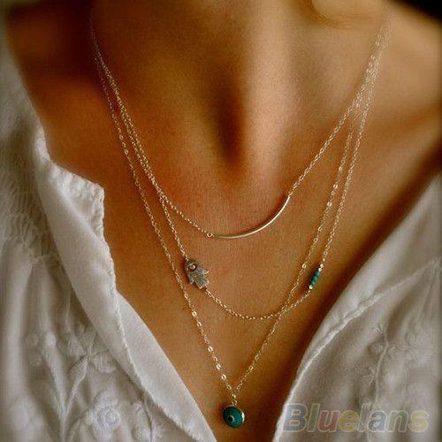 Новинка Boho хамса фатима рука дурной глаз бусины бирюзовый подвески нагрудник ожерелье 1PL6 купить на AliExpress