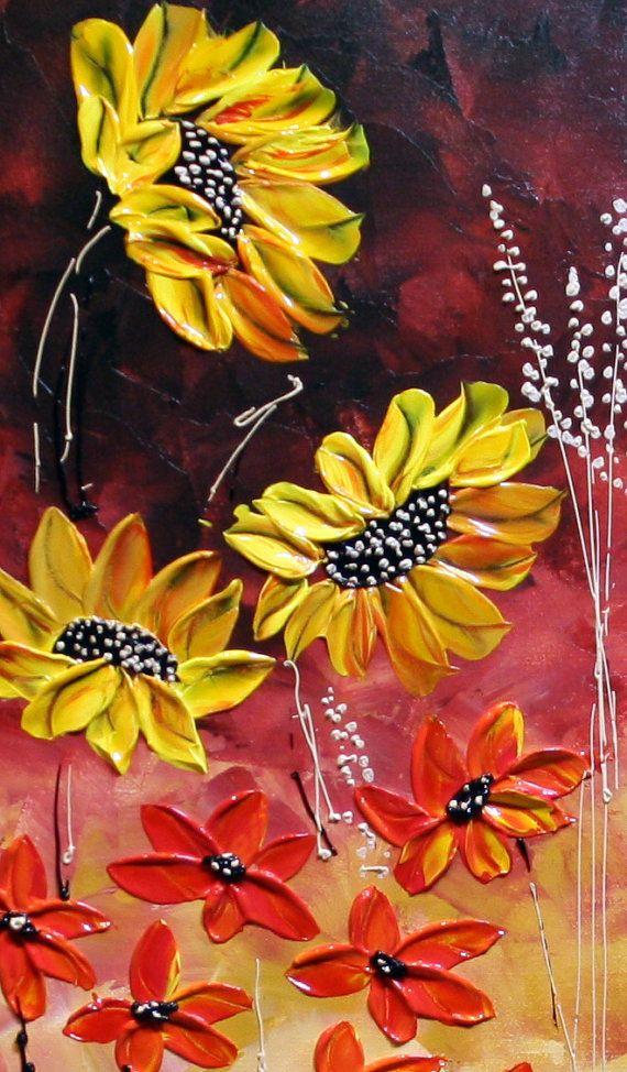 Girasol pintura tríptico Original texturizada por NataSgallery