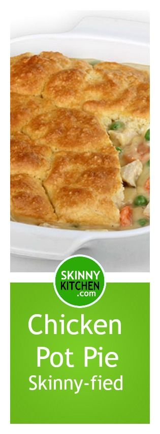 Chicken Pot Pie, Skinnyfied. Enjoy this fabulous, comfort food classic, guilt-free! Each serving has only 266 calories, 6g fat & 7 Weight Watchers POINTS PLUS! http://www.skinnykitchen.com/recipes/chicken-pot-pie/