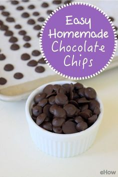 DIY homemade chocolate chips perfect for cookies or trail mix that you also make from scratch!  Recipe and how to here: http://www.ehow.com/how_5370566_make-chocolate-chips.html?utm_source=pinterest.com&utm_medium=referral&utm_content=freestyle&utm_campaign=fanpage