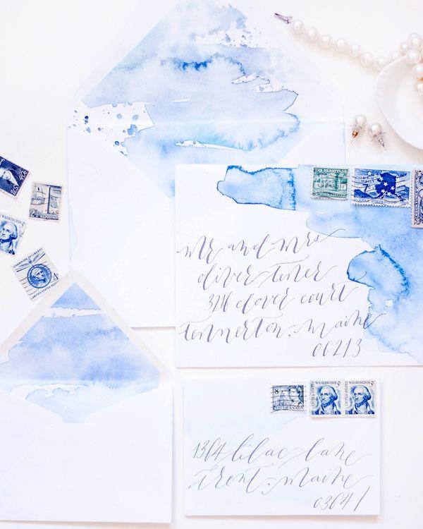 Blue watercolor calligraphy wedding invitations