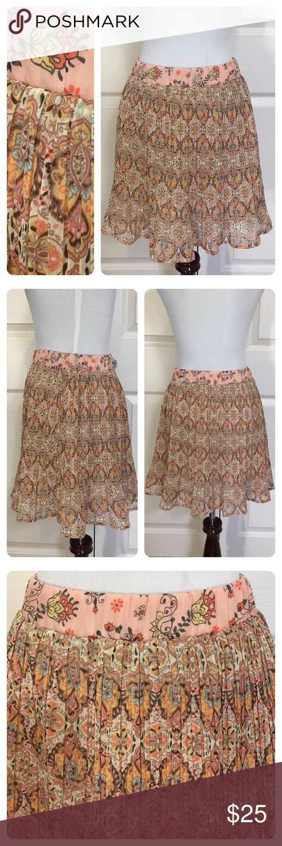 American Rag pleated skirt. Boho chic American Rag pleated skirt.  Elastic waist. Full pleats. Great boho look. Fun with boots, sandals or converse high tops! American Rag Skirts