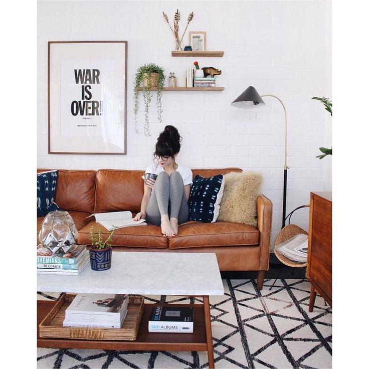 17 melhores ideias sobre sof s de couro caramelo no - Deco salon retro ...