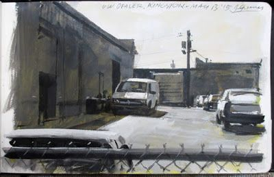 VW Dealership, Gouache by James Gurney, 5 x 8 inches.