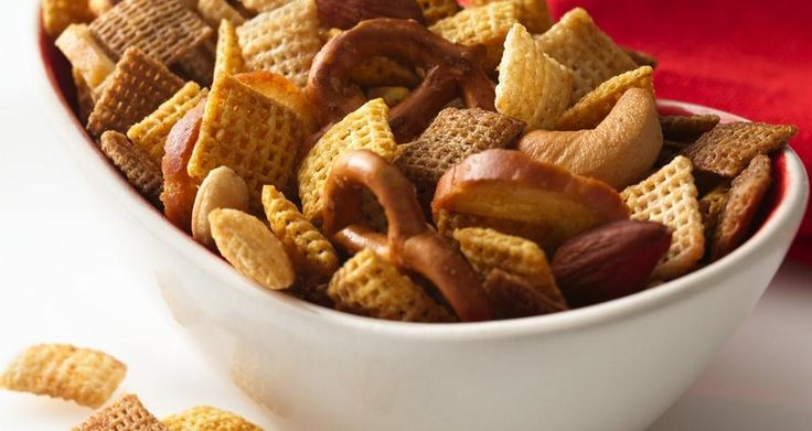 The Original Chex™ Party Mix (Worcestershire sauce, seasoned salt, garlic powder, onion powder, chex cereal, nuts, pretzels, bagel chips)