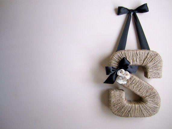 The Original Jute Monogram Wreath. Handmade Jute Letter.  Twine door hanging. Jute Letter. Letter Wreath. Summer Door Hanging.  Jute Wreath on Etsy, $35.00