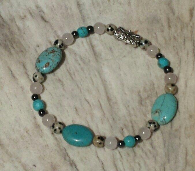Turquoise, Zebra Jasper, Rose Quartz & Magnitite with Hematite