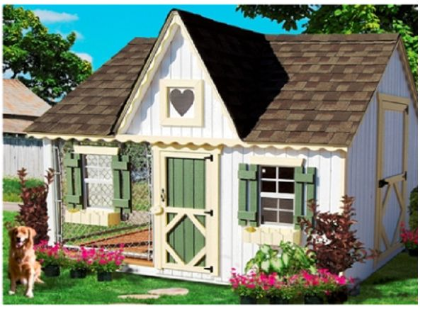 The Victorian style doghouse kennel combination will be an ideal addition to your backyard area and provide your dog with all the comforts of being protected from the elements and still be able to be outside.