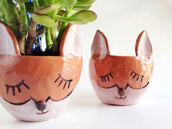 gift idea - Ceramic Fox Planter - Fox Decor Housewares - Ceramics and Pottery - WHAT DOES THE FOX SAY
