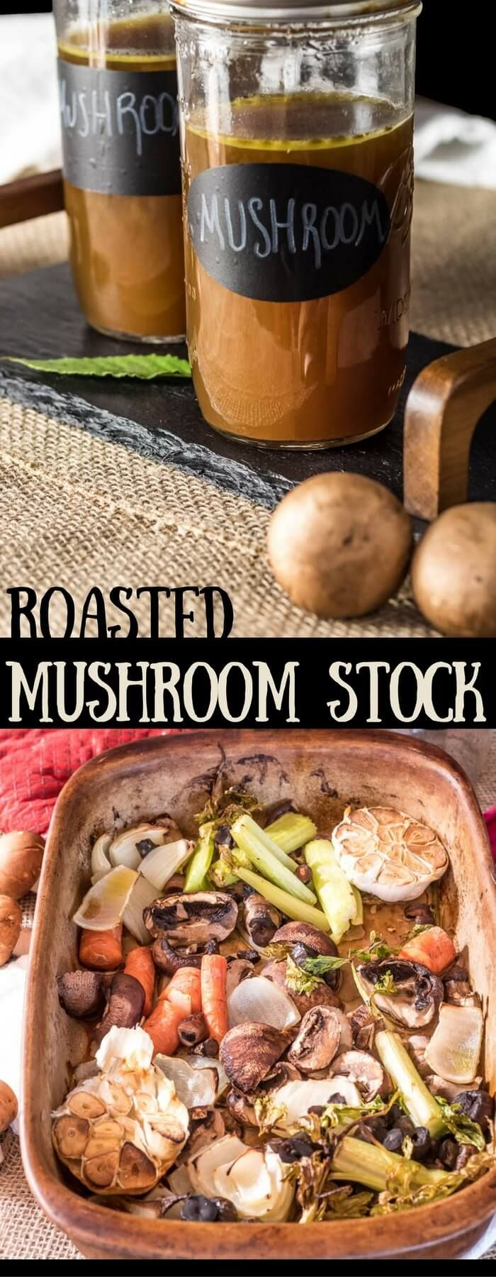 Roasted Mushroom Stock - Full-bodied and flavorful Roasted Mushroom Stock tastes fabulous in your soups, stews, and risottos, and is a great way to use kitchen scraps!