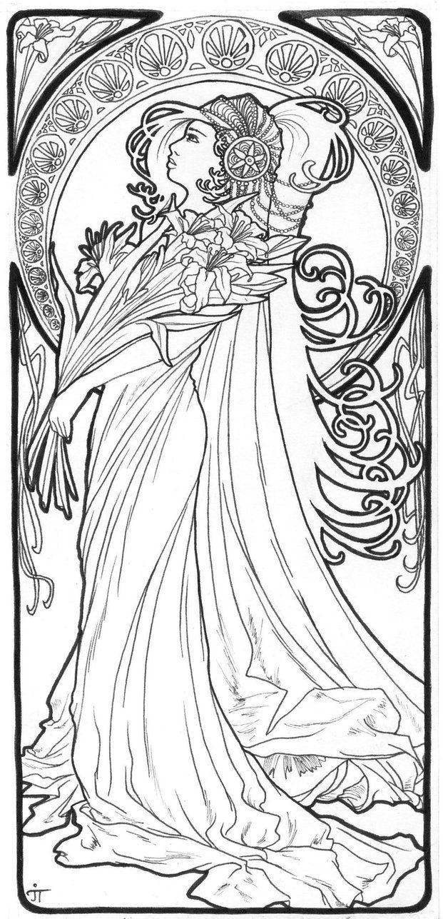 19 Best Mucha Coloring Pages Images On Pinterest Books