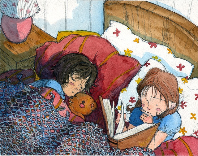 Illustration by Mai S Kemble. This is like me and my sister. Only I'm the sleeping one. And the teddy bear isn't a bear, but a giant stuffed penguin named Dr. McSnufflepants (he's sitting next to me now).