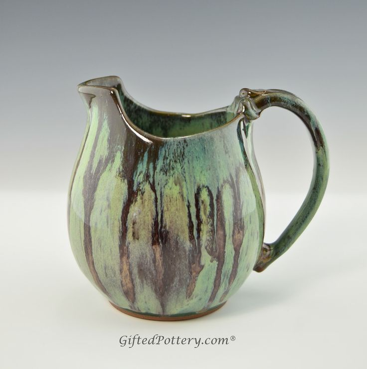 Handmade Pottery Small Pitcher / Gravy Boat Teal w Brown