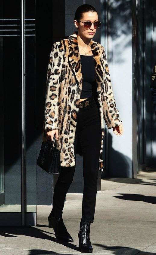 , How To Wear A Leopard Print Coat Like Bella Hadid , Photo via: Who What WearA leopard print coat is a major must-have this season and this look from  Bella Hadid is proof. The It model pairs hers with a black top, a  Moschino belt, cropped black jeans, and lace-up booties.Get the look:+ ASOS Leopard Fau... , EB , http://kirgin.net/how-to-wear-a-leopard-print-coat-like-bella-hadid.html ,  #NECKLACE,
