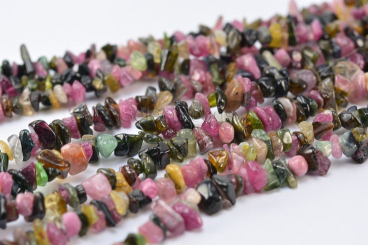 tournaline chips - natural tourmaline - pink tourmaline stone - green tourmaline stone -multi color tourmaline - chips -35 inch