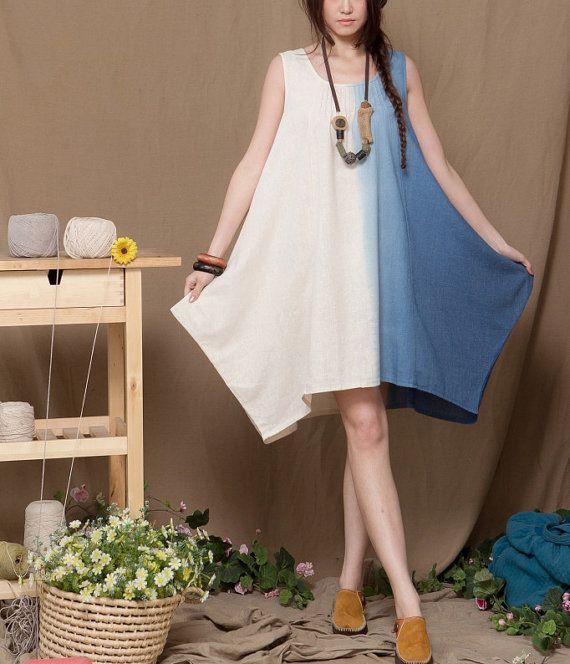 Cotton dress loose plus size free size dress by Lemontree2013, $54.50
