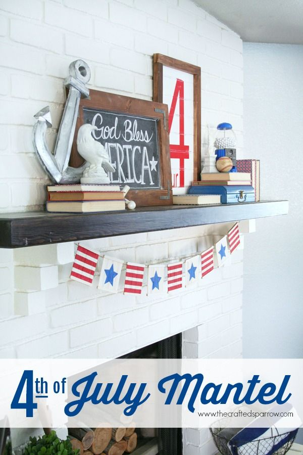 4th of July Mantel - thecraftedsparrow.com