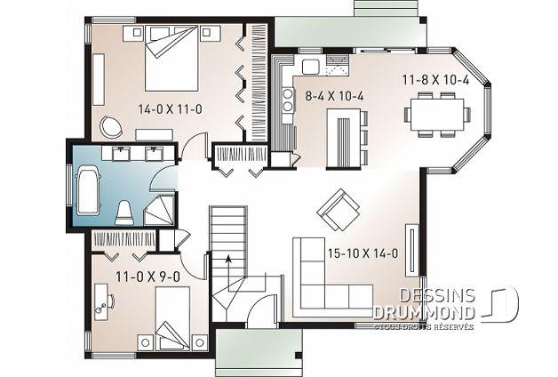 Decouvrez Le Plan 2106 Bartholdi Qui Vous Plaira Pour Ses 2 Chambres Et Son Style Champetre How To Plan Floor Plans Ranch