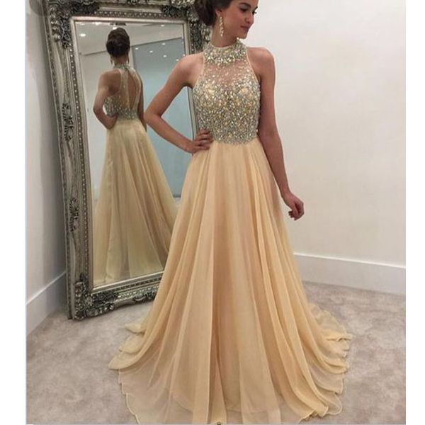 Champagne prom dress, open back prom dress, inexpensive prom dress, evening dress