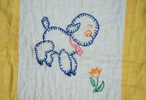 Vintage 30's Embroidered Animals Antique Crib Quilt Kitten Bunny Elephant |