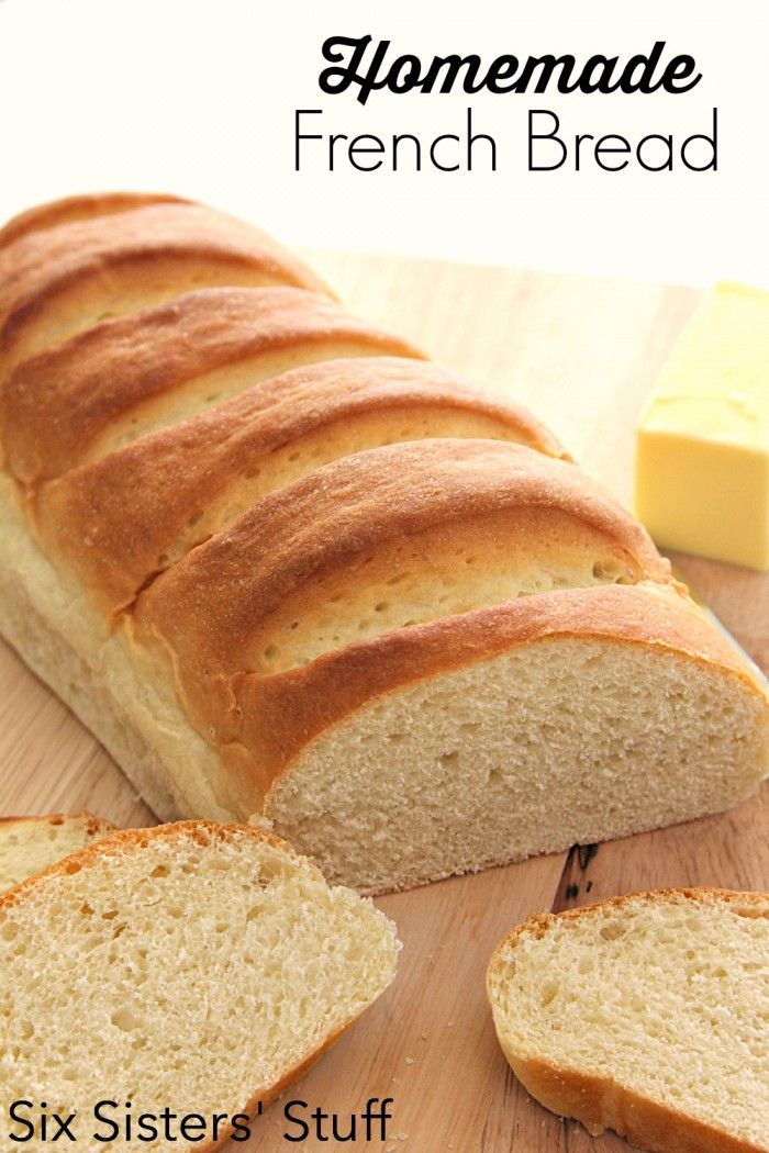 Easy Homemade French Bread Recipe from SixSistersStuff.com  The perfect side dish to any meal!