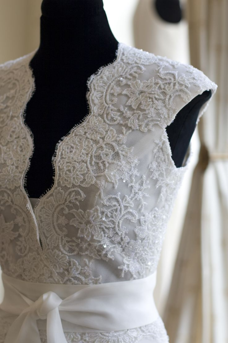 hand embroidered Calais lace wedding dress by Barbara Fabree couture