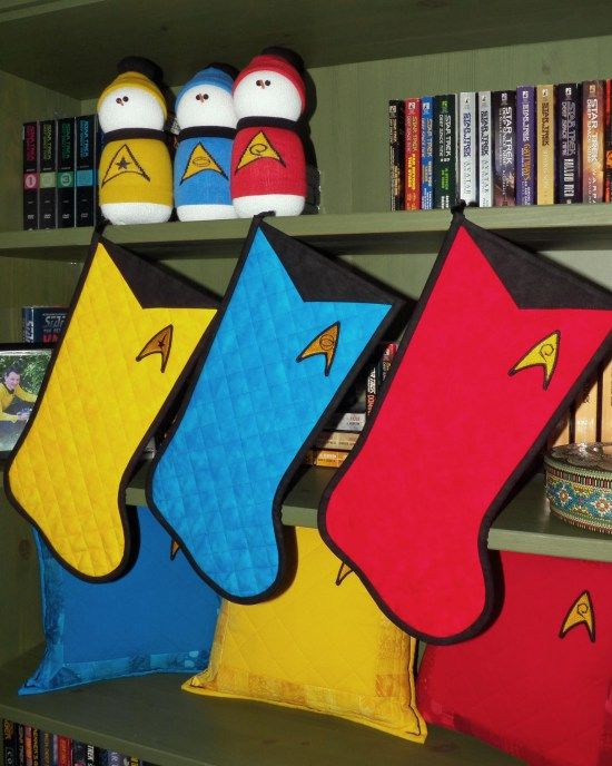 Star Trek Christmas Stockings - quilted by Whimzie Quiltz and More