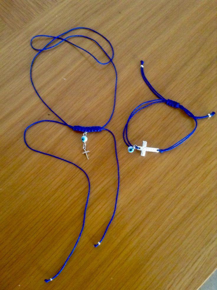 Μαρτυρικά βραχιολάκι και macrame necklace