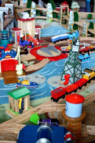"""A great rug to play trains on from Ikea.  The Little Engineer says, """"I liked that it had a turntable and that it had the trains on it.  It was fun to play with."""""""
