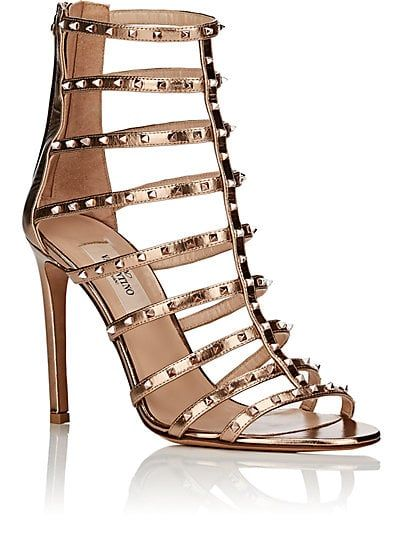 fe7924c14ed9 Valentino Garavani Lovestud Metallic Leather Caged Sandals