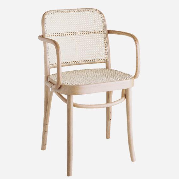 Stock finishes: Dark Oak, Walnut and Natural Options: Side or armchair Dimensions: H820, D530, W440, seat H460mm Materials: Solid European Beech frame with hand woven cane seat and back Description: Designed in the late 1920's, this model features a hand woven cane seat which offers extra comfort and lightness. The No.811 is attributed to Austrian …