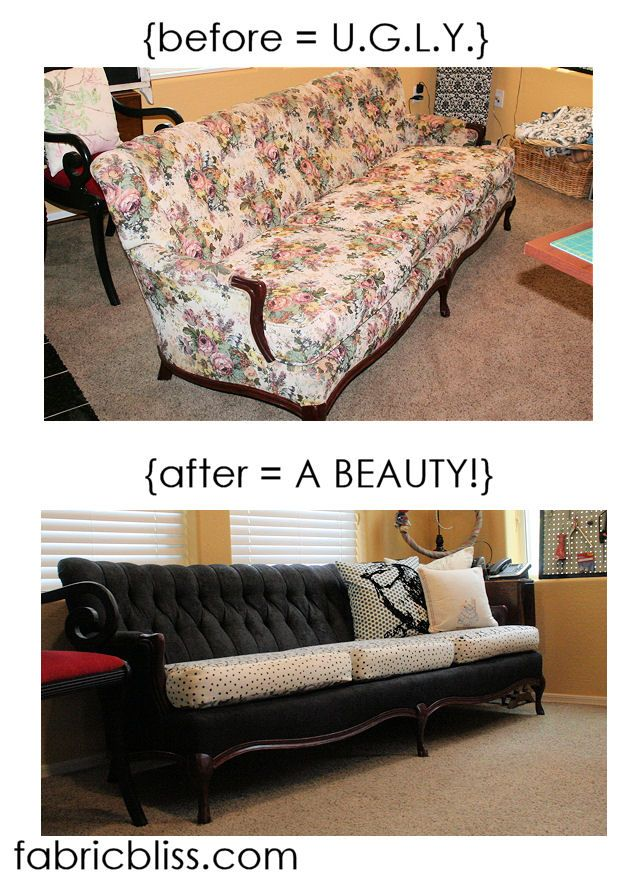 Quite the DIY project: re-salvage an ugly, vintage-y yard sale couch. This would be really neat to try someday!!