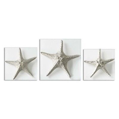 Art Paintings Mixed Media Collage: Uttermost Silver Starfish Wall Art (Set Of 3) Transitional Print / Painting BUY IT NOW ONLY: $275.29